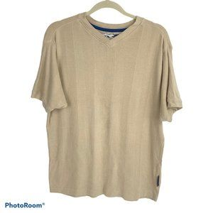 Ferruche Tan Ribbed V-Neck Shirt XL